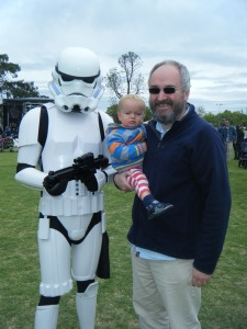 Everett True, his son and a stormtrooper