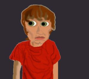 JG Thirlwell drawn really badly in photoshop