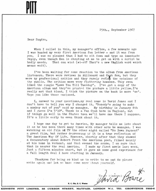 david bowie fan letter